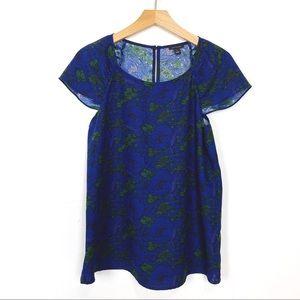 Ann Taylor flutter sleeve loose top blouse floral